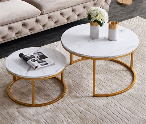 """Round coffee tables have that sense of style and elegance that you don't acquire from other pieces of furniture. Top-32"""" Modern Nesting Coffee Table Simple Modern Living Room -2 Round Table Sets(1*Big+1*Small ..."""