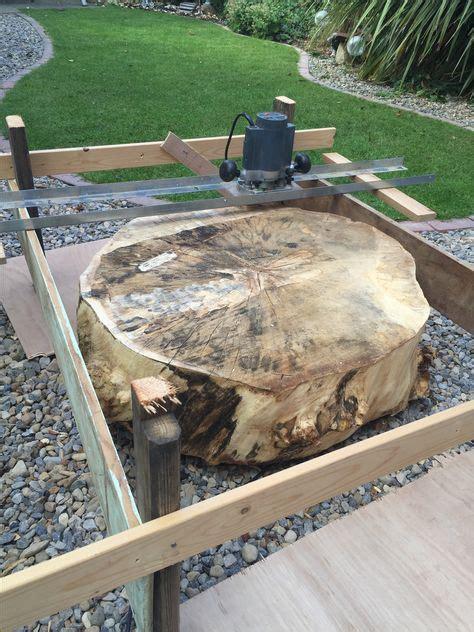 scrap wood router jig  flattening large log disc