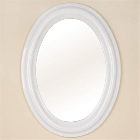 Oval Ceramic Mirror  White Bathroom