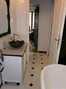 Carrelage Salle De Bain Blanc : salle de bain avec carrelage noir et blanc salle de bain ~ Melissatoandfro.com Idées de Décoration