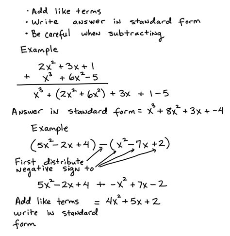 adding and subtracting polynomials algebra test helper