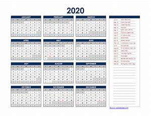 2020 Yearly Calendar Template Word 2020 Canada Yearly Excel Calendar Free Printable Templates