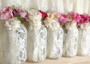 5 ivory lace covered jar vases wedding by pinkyjubb on etsy