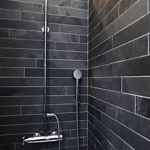 Carrelage Noir Salle De Bain : dalles carrelage ardoise noire 60x14 indoor by capri ~ Dailycaller-alerts.com Idées de Décoration