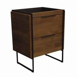 meuble sous vasque havane 2 tiroirs en teck et metal 64 With meuble 9 cases leroy merlin