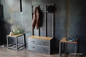 Banc Entrée Bois : meuble de style industriel table basse meuble tv micheli design ~ Teatrodelosmanantiales.com Idées de Décoration