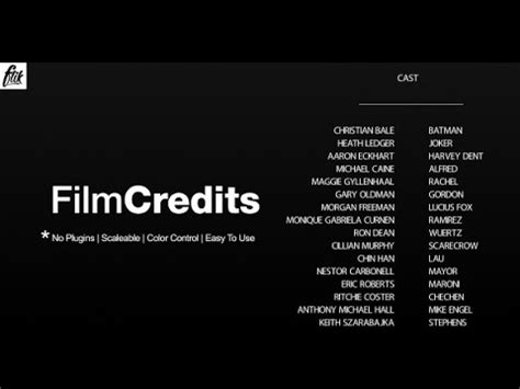 credits template credits after effects template