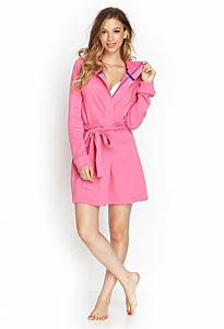 lyst forever 21 hooded terrycloth robe in pink With robe fuchsia