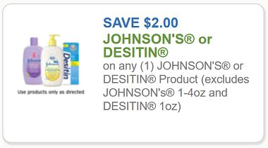 Johnson's Coupon - $2 off off any one Johnson's or Desitin ...
