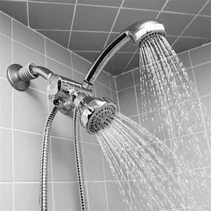 Chrome Shower Head And Massager Set  Stainless Steel Hose