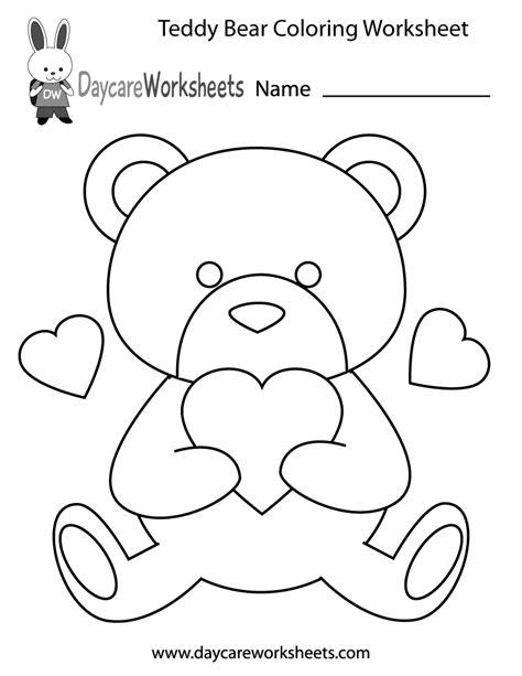 preschool teddy bear coloring worksheet