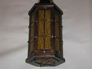Arts crafts copper with amber textured glass ceiling