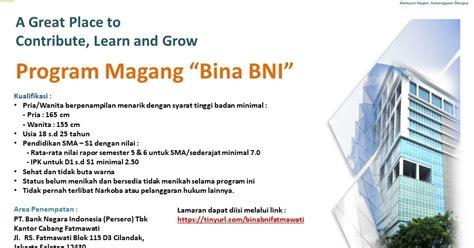lowongan kerja bina bni bank negara indonesia persero