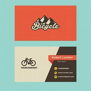 Retro business card with bicycle logo vector free download for Business card with logo