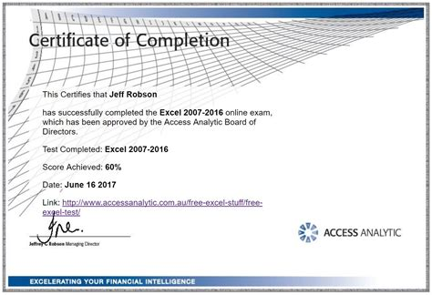 free certificate courses free excel test access analytic