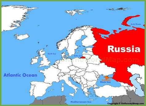 russia location   europe map