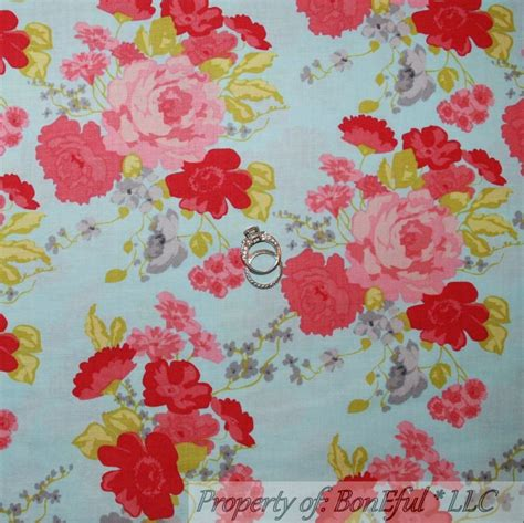 shabby chic fabric grey boneful fabric fq cotton quilt blue pink red green gray flower shabby chic retro ebay