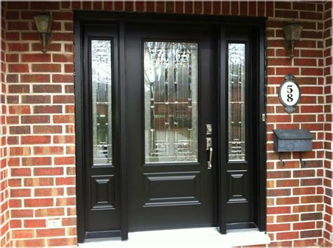 Black Wooden Front Doors With Sidelights   Interior Design