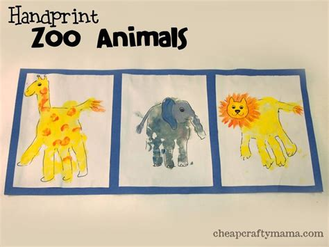 crafts actvities and worksheets for preschool toddler and 798 | Handprint Zoo Animals