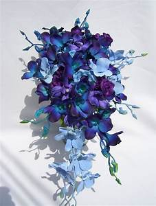 Diana's Silk Cascade Bridal Bouquet with Blue and Purple