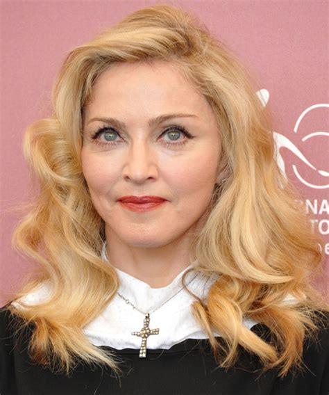 madonna long wavy light honey blonde hairstyle  light
