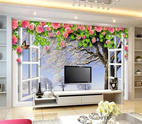 Open Window Wallpaper And Lcd Tv Cabinet Design Id858