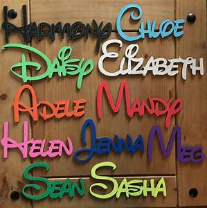 Disney personalised wooden name plaques words letters wall for Letter name signs
