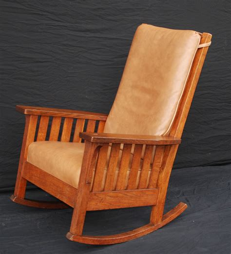 Stickley Upholstered Rocking Chair by Voorhees Craftsman Mission Oak Furniture L J G