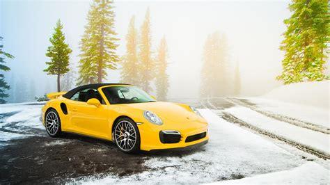 Wallpaper Car Yellow by Porsche Snow Car Yellow Cars Wallpapers Hd Desktop