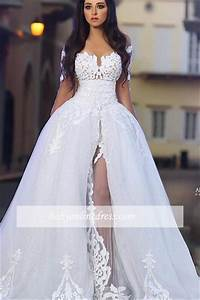2018 long sleeves a line appliques white elegant wedding With white elegant wedding dresses