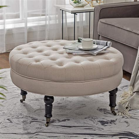 Surely, the idea of having an ottoman coffee table may not occur in your mind. $104.3 - Simhoo Large Round Tufted Lined Ottoman Coffee Table with Casters - OwlDeals.net