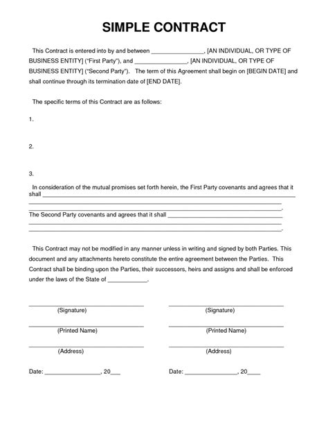 simple contract agreement letter