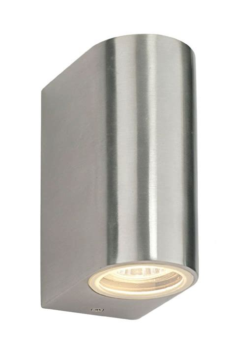 brushed alloy clear glass outdoor wall light 13915 by endon