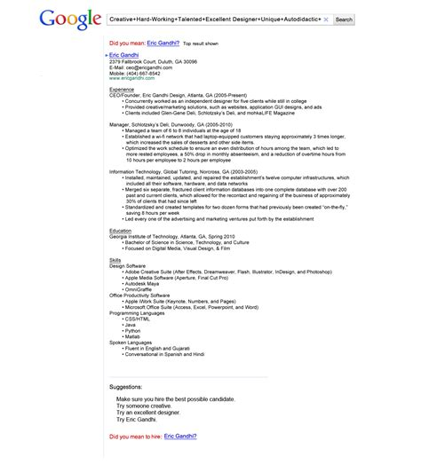 Creative Resume Business Insider by A Themed Resume Got Eric Gandhi An With