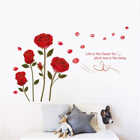 red rose life   flower quote wall sticker mural decal