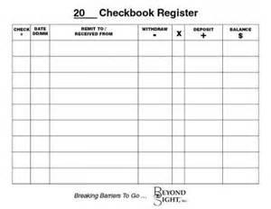 Large Printable Check Register for Checkbook