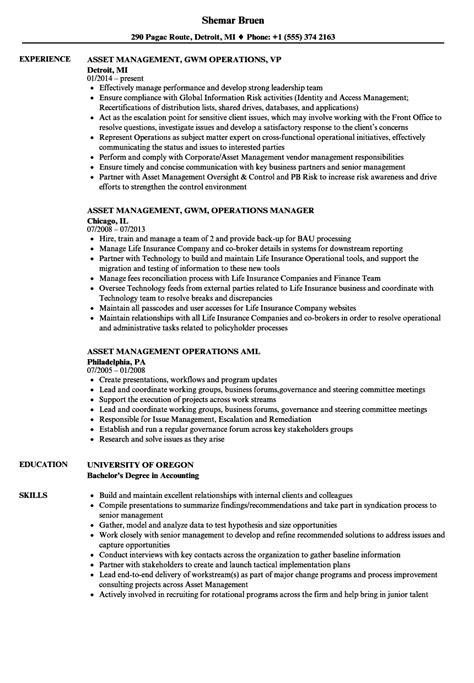 Data Management Resume Sle by Asset Management Operations Resume Sles Velvet
