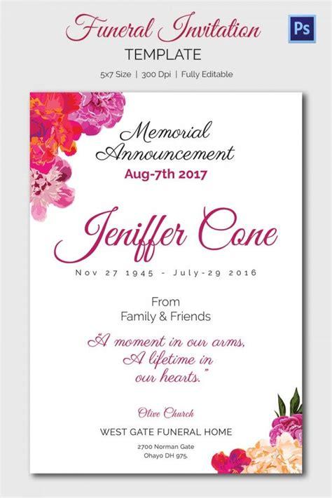funeral invitation templates  sample