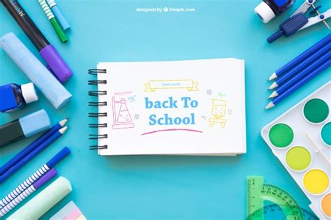 back to school mockup image creative back to school mockup with horizontal notepad psd file free
