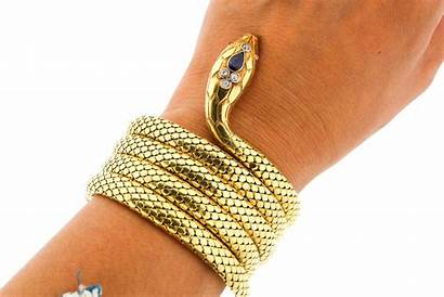 Bracelet Snake Gold Antique Victorian Diamond 18k