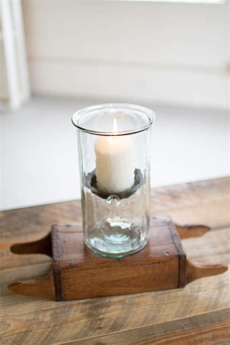 mini glass hurricanes medium mini glass cylinder  rustic metal insert   colombia