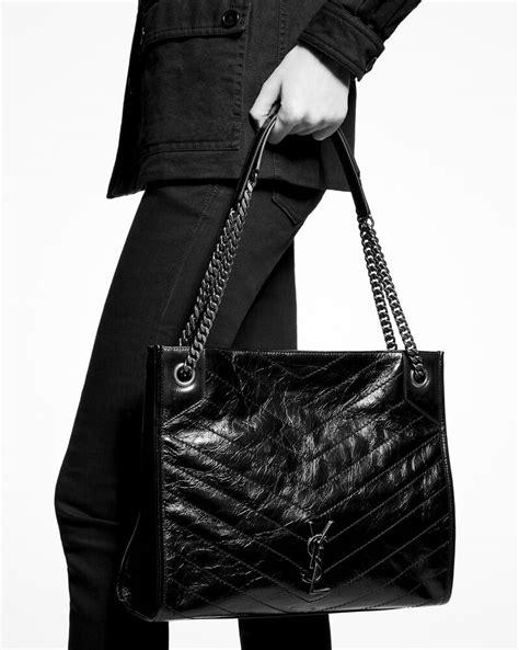 niki medium shopping bag  crinkled vintage leather saint laurent singapore yslcom
