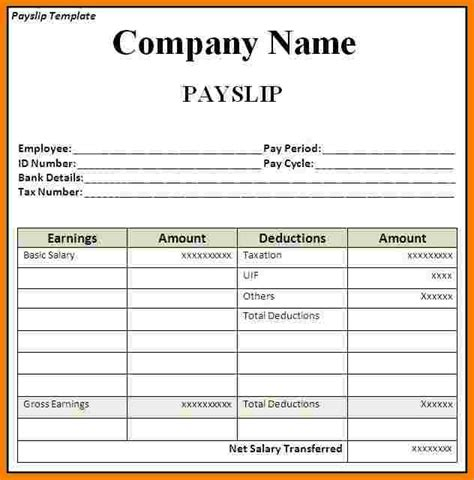 downloadable payslip template sales slip template