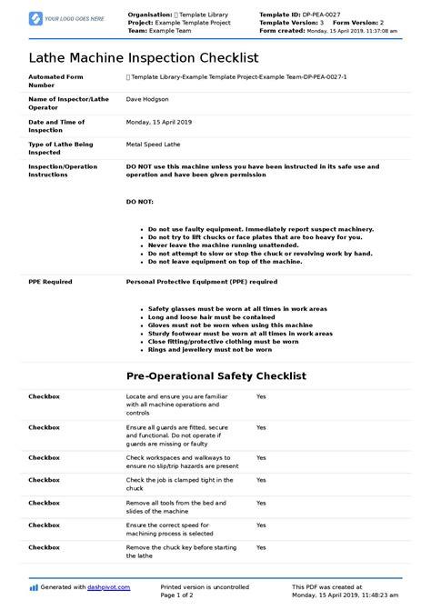 lathe machine inspection checklist   flexible