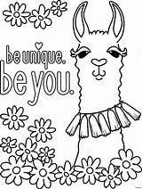 Llama Coloring Printable Getcolorings sketch template