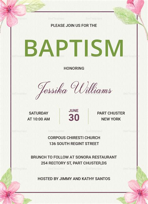floral baptism invitation card design template in word psd publisher
