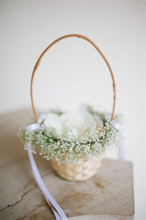 flower girl basket  babys breath flower girl basket