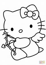 Coloring Cupid Valentine Kitty Pages Hello Drawing Printable Cartoon Lunch Box Valentines Colouring Template Line Clip Clipart Paper Dora Anime sketch template