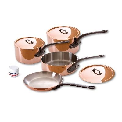 mauviel wc  piece copper stainless cookware set  cast stainless handles