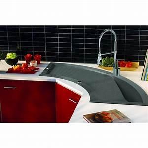 Cuisine D Angle : evier d 39 angle de cuisine encaster 1 cuve en r sine min rale composite gris beton avec vidage ~ Teatrodelosmanantiales.com Idées de Décoration